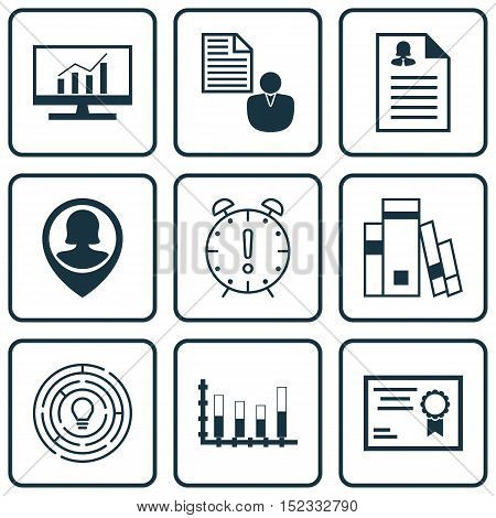 Set Of 9 Universal Editable Icons For Education, Project Management And Marketing Topics. Includes I