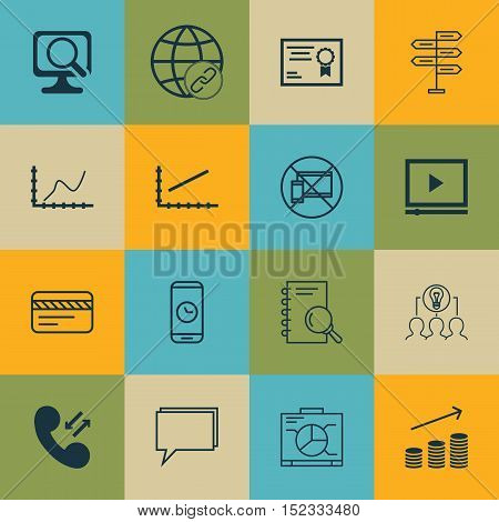 Set Of 16 Universal Editable Icons For Computer Hardware, Statistics And Travel Topics. Includes Ico