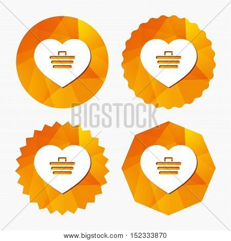 Love Shopping Cart sign icon. Online buying. Triangular low poly buttons with flat icon. Vector