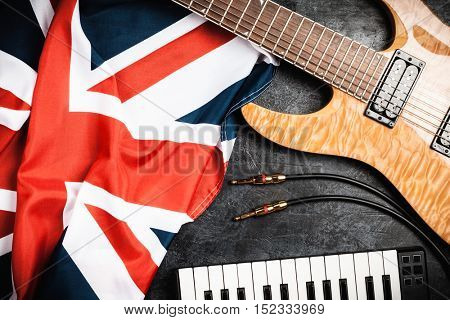 Electric guitar on grey background