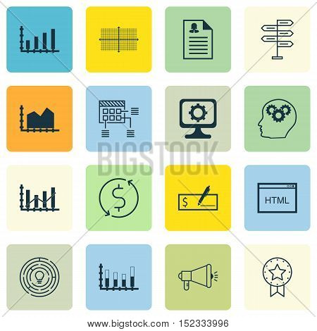 Set Of 16 Universal Editable Icons For Computer Hardware, Airport And Marketing Topics. Includes Ico