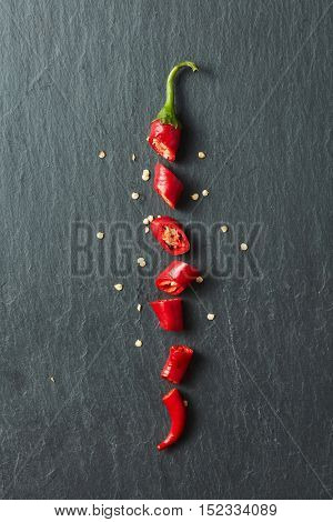 Red chili pepper cut into slices