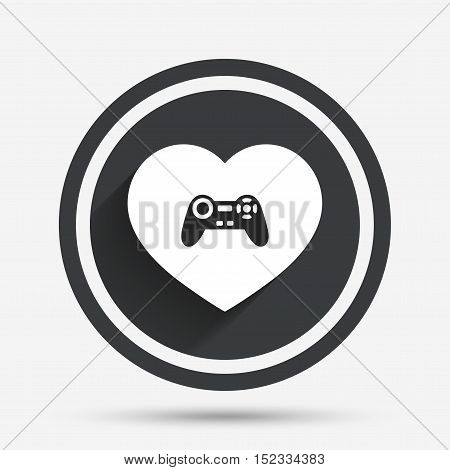 Joystick sign icon. Like Video game symbol. Circle flat button with shadow and border. Vector