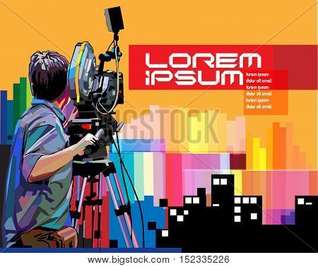 Vector cameraman in action with WPAP (Wedha Pop Art Potrait) style