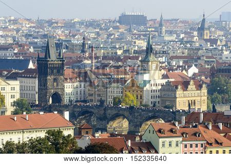 Panoramic aerial view of Prague from Prague Castle, Czech Republic.