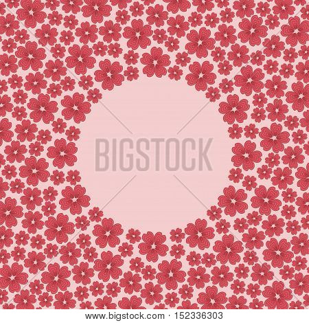 Delicate cute pattern circle border frame with many repeating different sized spring blossom flowers isolated on the pink background. Space for invitations or different promotional and greeting cards text. Vector illustration eps