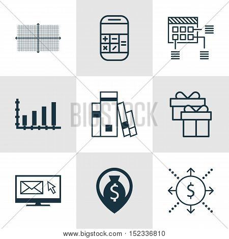 Set Of 9 Universal Editable Icons For Airport, Project Management And Advertising Topics. Includes I