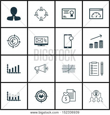 Set Of 16 Universal Editable Icons For Seo, Education And Statistics Topics. Includes Icons Such As