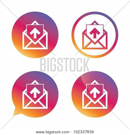 Mail icon. Envelope symbol. Outgoing message sign. Mail navigation button. Gradient buttons with flat icon. Speech bubble sign. Vector