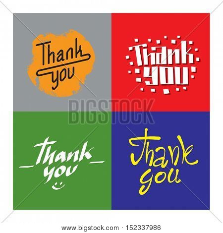 Thank you text lettering vector illustration
