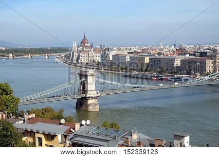 Top view of the Chain Bridge across the Danube and Parliament in Budapest