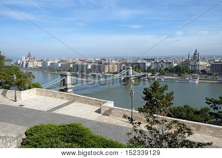 Top view of the Szechenyi Chain Bridge is a suspension bridge across the River Danube between Buda and Pest
