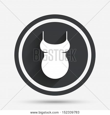 Pregnant woman shirt sign icon. Maternity symbol Circle flat button with shadow and border. Vector