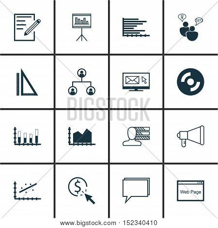 Set Of 16 Universal Editable Icons For Statistics, Computer Hardware And Education Topics. Includes
