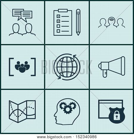 Set Of 9 Universal Editable Icons For Seo, Project Management And Business Management Topics. Includ