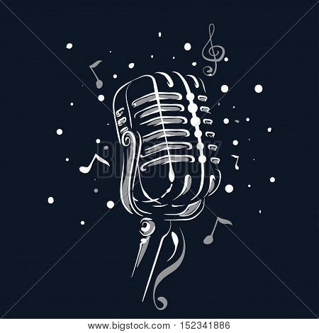 Retro vintage microphone with notes Vector illustration