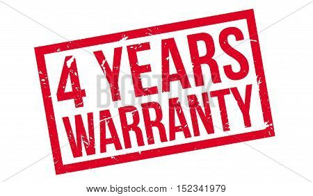 4 Years Warranty Rubber Stamp