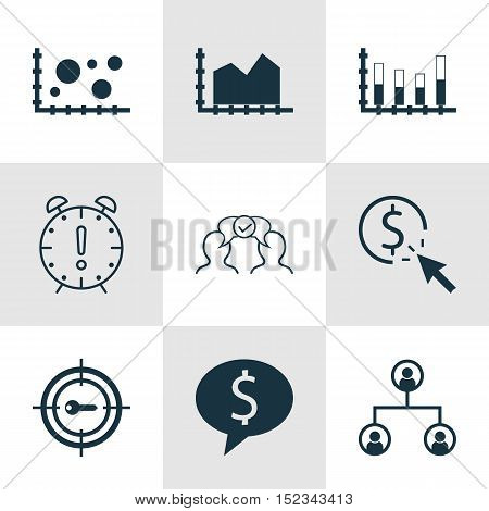 Set Of 9 Universal Editable Icons For Advertising, Project Management And Human Resources Topics. In