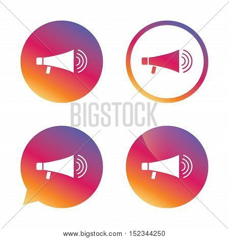 Megaphone sign icon. Loudspeaker symbol. Gradient buttons with flat icon. Speech bubble sign. Vector