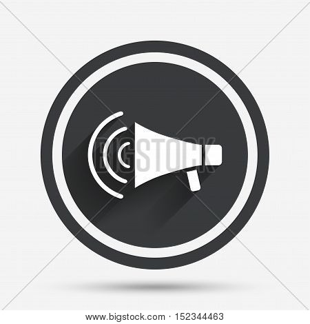 Megaphone sign icon. Loudspeaker strike symbol. Circle flat button with shadow and border. Vector