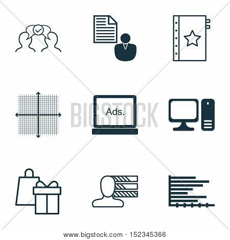 Set Of 9 Universal Editable Icons For Computer Hardware, Seo And Statistics Topics. Includes Icons S