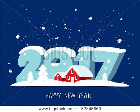 Quote Happy New Year. Great holiday gift card. Large numbers 2017 and red snow-covered houses. Vector illustration on a blue background. The trend calligraphy.