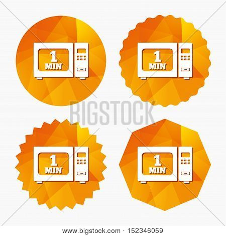 Cook in microwave oven sign icon. Heat 1 minute. Kitchen electric stove symbol. Triangular low poly buttons with flat icon. Vector