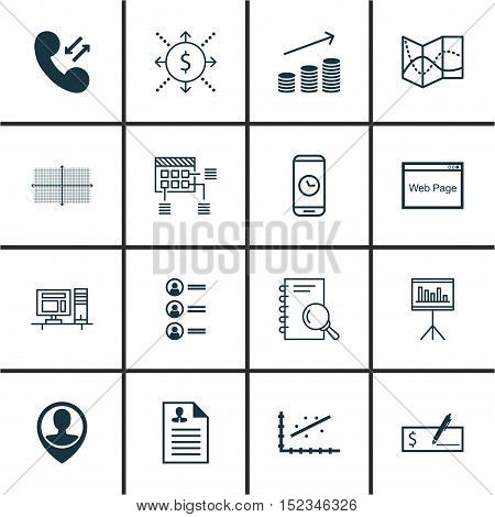 Set Of 16 Universal Editable Icons For Human Resources, Seo And Airport Topics. Includes Icons Such