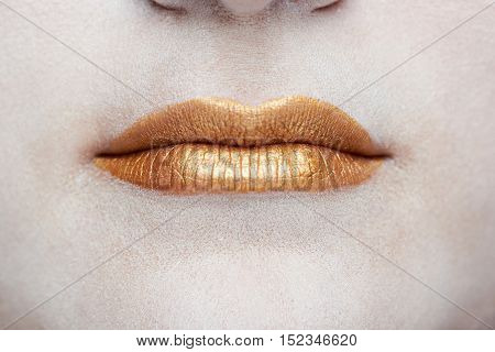 Macro Of Gold Lips