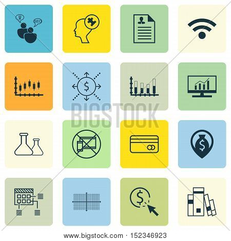 Set Of 16 Universal Editable Icons For Computer Hardware, Education And Business Management Topics.