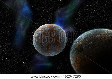 Alien planets surrounded by a star field and passing space dust