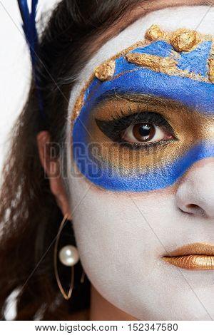 Half Face Of Woman