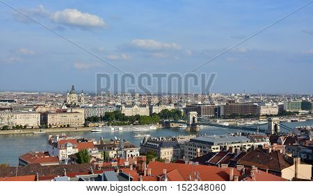 Budapest historic center panorama with River Danube Saint Stephen Basilica and Chain Bridge
