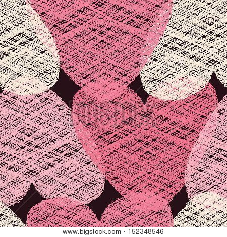 Romantic seamless vector pattern illustration. St. Valentine`s day decoration symbol concept. Many repeating pink and white colored tangled hearts on the dark background. Vector eps illustration