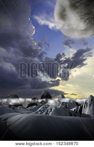 Fantasy landscape scene on an alien planet and moon.