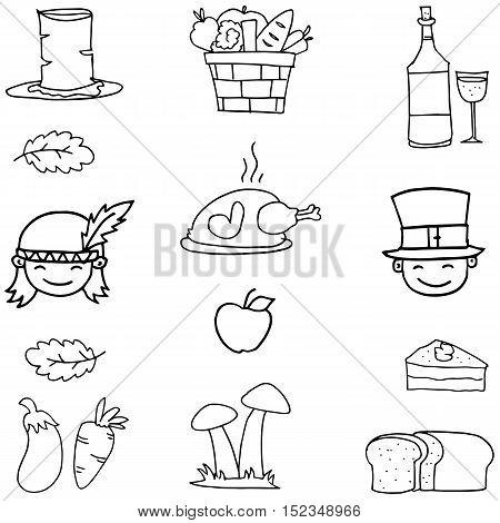 Doodle of thanksgiving chicken fruit vector art