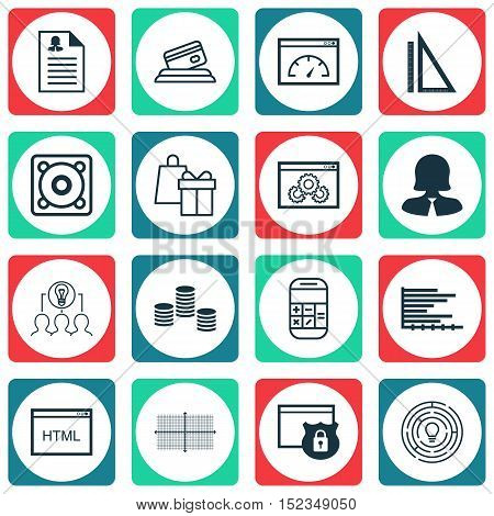 Set Of 16 Universal Editable Icons For Statistics, Education And Airport Topics. Includes Icons Such