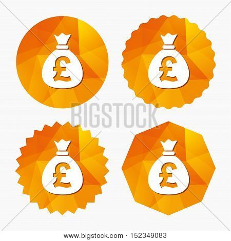 Money bag sign icon. Pound GBP currency symbol. Triangular low poly buttons with flat icon. Vector