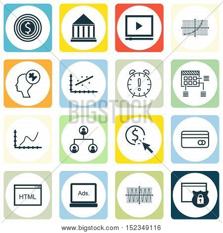Set Of 16 Universal Editable Icons For Human Resources, Business Management And Advertising Topics.