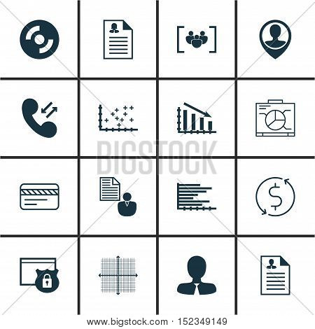 Set Of 16 Universal Editable Icons For Marketing, Seo And Travel Topics. Includes Icons Such As Bank