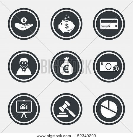 Money, cash and finance icons. Piggy bank, credit card and auction signs. Presentation, pie chart and businessman symbols. Circle flat buttons with icons and border. Vector