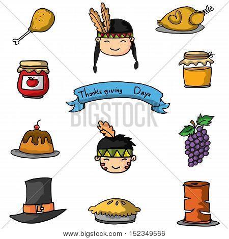 Doodle of element thanksgiving cartoon vector art