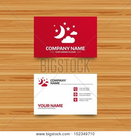 Business card template. Moon, clouds and stars icon. Sleep dreams symbol. Night or bed time sign. Phone, globe and pointer icons. Visiting card design. Vector