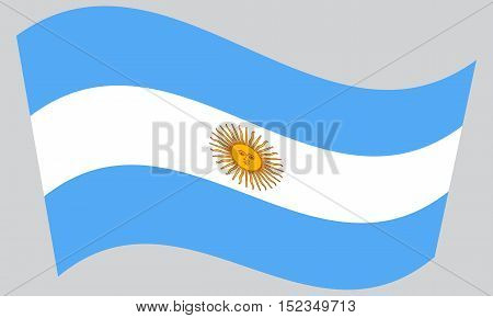 Argentinian national official flag. Argentine Republic patriotic symbol banner element background. Flag of Argentina waving on gray background vector