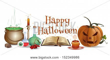 Halloween design with jack-o'-lantern, open book, magic wand, wizard laboratory, candle, eye and lettering - Happy Halloween. Halloween banner, poster, card. Vector illustration
