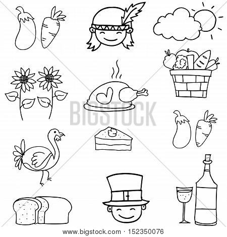 Doodle of thanksgiving hand draw object vector art