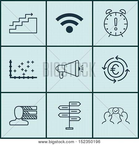 Set Of 9 Universal Editable Icons For Travel, Business Management And Project Management Topics. Inc