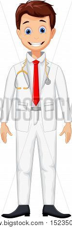 cute young professional doctor cartoon for you design