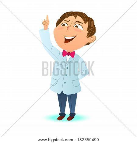 Cute clever kid a boy scientist index finger up. Clever boy got the idea. Cartoon character mascot.