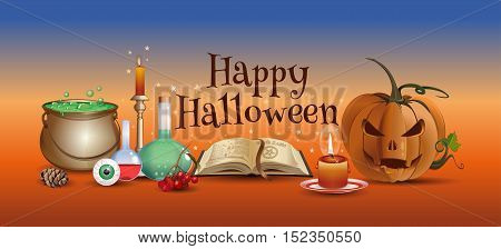 Halloween colorful horizontal banner with wizard laboratory and greeting inscription - Happy Halloween. Vector illustration